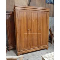 Lemari pakaian minimalis kayu jati 3 pintu model polos