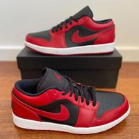 Sepatu Nike Air Jordan 1 Low Bred  Black Red  Premium Original