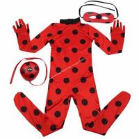 Kostum Baju Lady Bug Cosplay Halloween Ladybug Anak Perempuan LadyBug