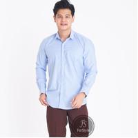 Baju Kemeja Lengan Panjang Casual Pria Biru Muda Polos Slimfit - M