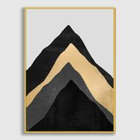 Lukisan Dinding/Art Print Four Mounttains-Frame StainlessGold-50x70