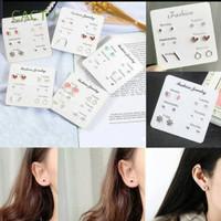 anting Tusuk wanita 6in1 - Anting plug giwang korea 6 pasang