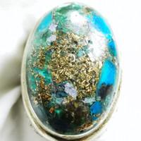Batu akik natural pirus Persia urat emas 04