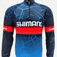 Baju jersey sepeda gowes lengan panjang motif biru GOOD QUALITY