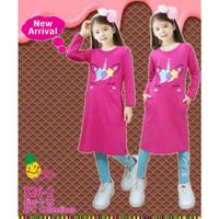 Baju Setelan Anak Perempuan Panjang Little Pineapple Unicorn Fushia