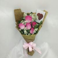 Handbouquet bunga mawar pink asli
