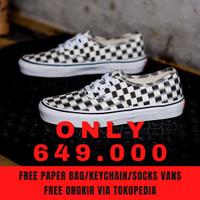Sepatu Sneakers Vans Auth Authentic Checkerboard Blur Black White Ori
