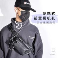 Tas selempang tas slempang pria sling bag backpack kanvas 001 - Hitam