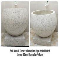 Bak Mandi Terazzo Gentong unik tipe bulat terlihat kamar mandi alami
