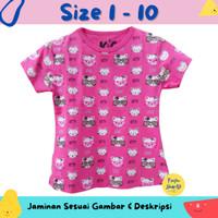 Baju Anak Perempuan / Kaos Lengan Pendek Motif Kitty Kucing Pink 1-10
