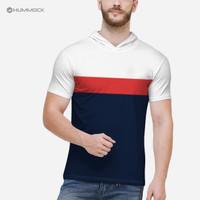 Baju Cowo / Kaos Hoodie Pendek Pria / T-Shirt Distro H01B - TC 1046 M - PUTIH-MRH-NAVY, M