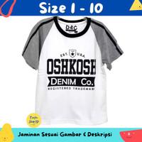 Baju Anak Laki-Laki / Kaos Lengan Pendek Oshkosh White Grey 1-10 Tahun