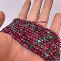 Natural TANZANIA 4mm CUTTING batu manik FACETED bead ruby red bracelet