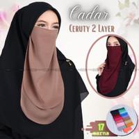 Cadar Tali Ceruti 2 Layer Panjang dan Lebar Niqob Bahan Ceruty Premium