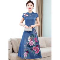 dress cheongsam biru wanita bahan katun motif bunga korea
