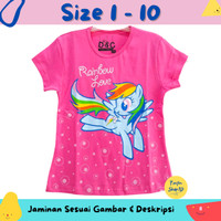 Baju Anak Perempuan / Kaos Lengan Pendek Little Pony Rainbow Pink 1-10