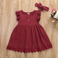 dress anak merah marun lace cantik plus bandana