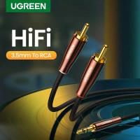 Ugreen HiFi 3.5mm audio to 2 Dua Rca Red White Hi-Fi Aux Nylon Nilon - 3 METER - 80848