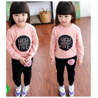 Setelan Baju Sweater Anak Perempuan Cewek Bahan Baby Terry Umur 1-6 th