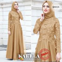 Baju Pesta Muslim Wanita Maxi Dress Murah Brukat Jumbo Big size XXL