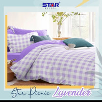 bed cover motif kotak warna ungu 140x200 150x200 160x200 180x200