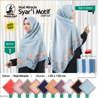 Jilbab Segi Empat Voal Miracle Syari Laser Cut Motif 1 by Umama Hijab