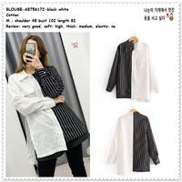 AB756172 Baju Atasan Garis Kemeja Hitam Putih Wanita Korea Import