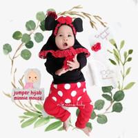 Jumper Bayi Hijab Kostum Minnie Mouse Jilbab Baju Muslim Bayi Cewek