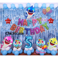 Set paket balon baby shark biru birthday dekorasi ulang tahun anak