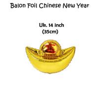 Balon Foil Gold Ingot 14 inch / Balon Emas Chinese New Year Imlek