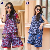 Setelan Celana Pendek Wanita batik Cap/Setelan Batik Unggul Jaya