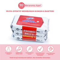 BUY2 GET1 Lapin Tisu Basah Multipurpose Disinfectant Apel 50s