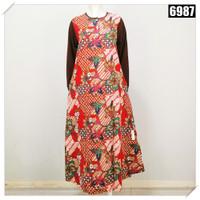 Gamis Dewasa Batik Karet Tangan Kaos 6987 7986 - Merah, One Size / L