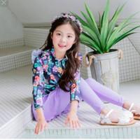 Baju renang anak perempuan panjang floral impor Diving Ungu