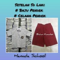 Setelan Sd Laki Merah putih Celana Pendek Baju Pendek Seragam Sekolah - Kelas 1