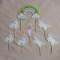 Cake Topper Unicorn | Hiasan Kue Ulang Tahun | Dekorasi Kue Lucu