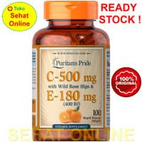 Puritan Pride Vitamin C 500 mg & E 400 IU with Rose Hips 100 Softgels