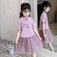 Setelan Cheongsam Anak / Gaun Qibao / Baju Imlek Anak Perempuan Import