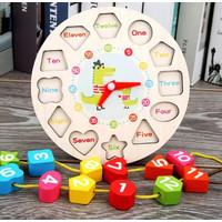 Mainan Edukasi Jam Kayu Puzzle Geometry Bentuk Shape Meronce