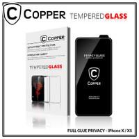 Iphone X / XS - COPPER Tempered Glass PRIVACY / ANTI SPY (Full Glue)