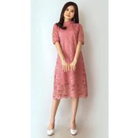 Baju Dress Wanita Dewasa Pesta Brukat Tebal All Size Bisa S-L Murah