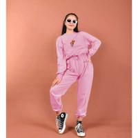 Power Puff Girls Set Setelan Baju Olah Raga Fashion Muslim Wanita - dusty