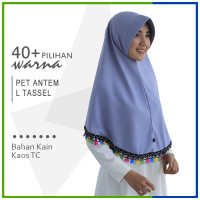Jilbab Instan Pet Antem Tassel L Hijab Kaos Bergo Syari Khimar Grosir