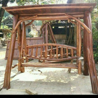 ayunan kayu jati bulat utuh, ayunan antik garden, ayunan taman outdoor