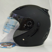 Helm Centro Half Face Double Visor Hitam Doff Polos Slot Anti Maling.