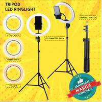 PAKET TRIPOD LIVE TRIPOT SELFIE KAMERA HANDPHONE RINGLIGHT RING LIGHT