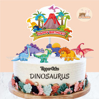 Hiasan Kue DINOSAURUS LAND Topper Cake Ulang Tahun