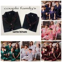 Piyama couple satin silk keluarga 4pcs ibu ayah 2 anak