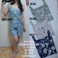 Baju Tidur Tanpa Lengan/Tank Top Motif Etnik Katun Rayon Premium