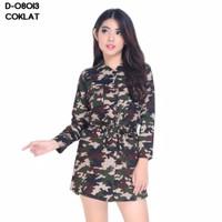 kemeja tunik armi loreng wanita army atasan baju blouse hem shirt